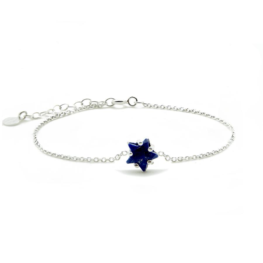 Bracelet argent etoile pierre lapis lazuli aglaiaco