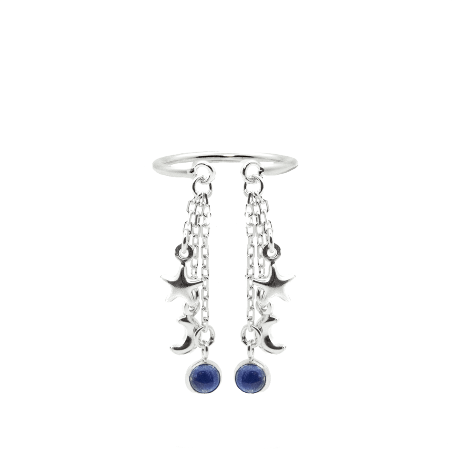 Bague argent lune etoile lapis lazuli bleu aglaiaco