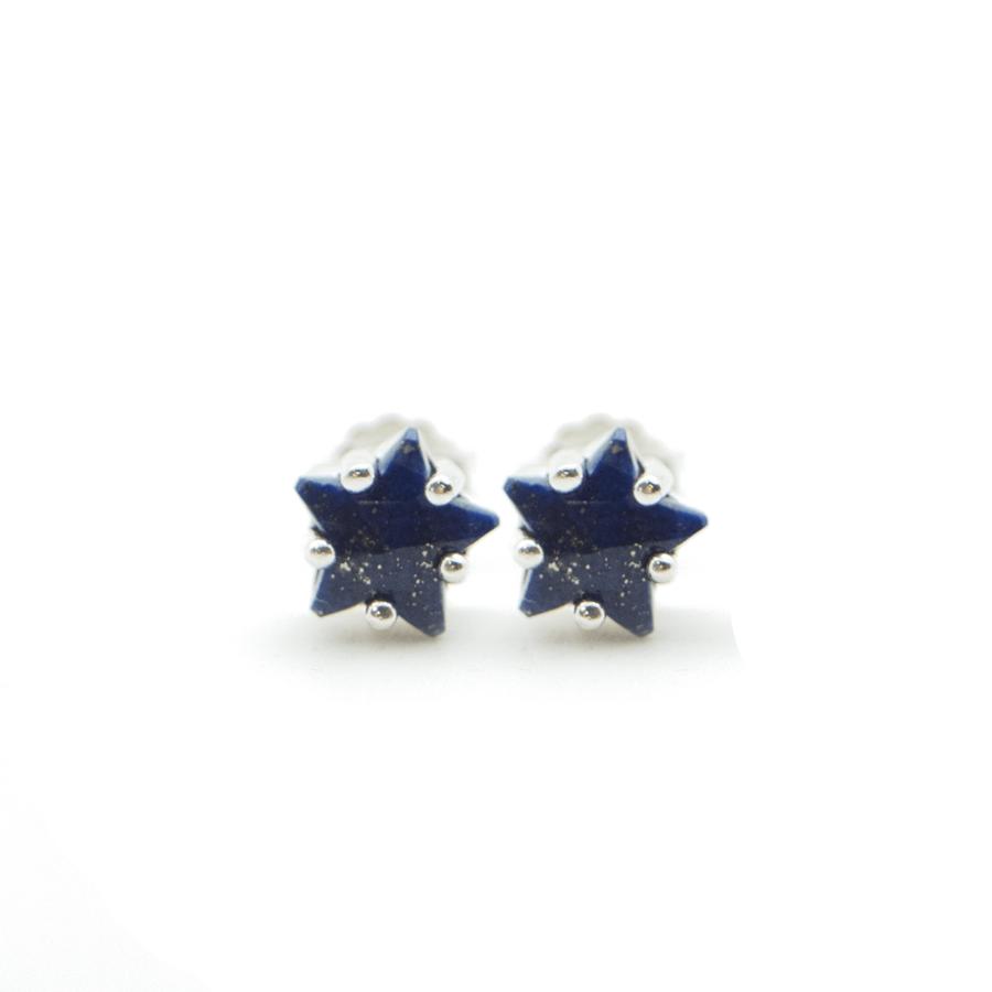 Boucles oreilles puce etoile lapis lazuli aglaiaco