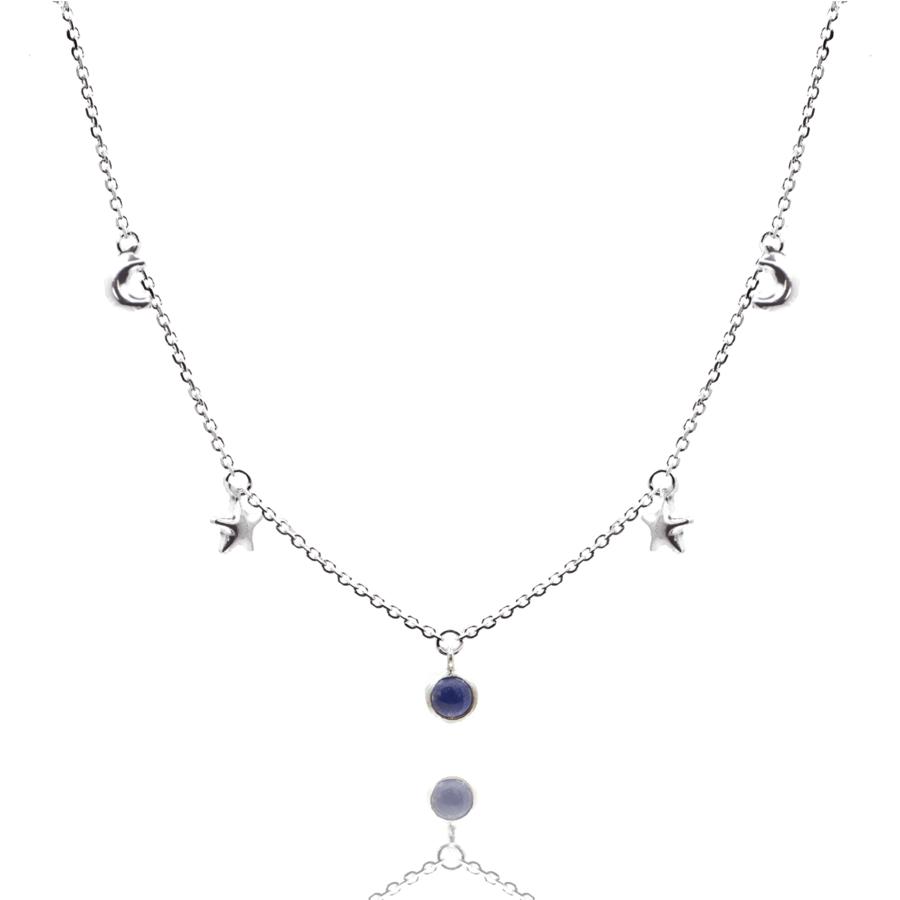 Collier lune etoile lapis lazuli aglaiaco
