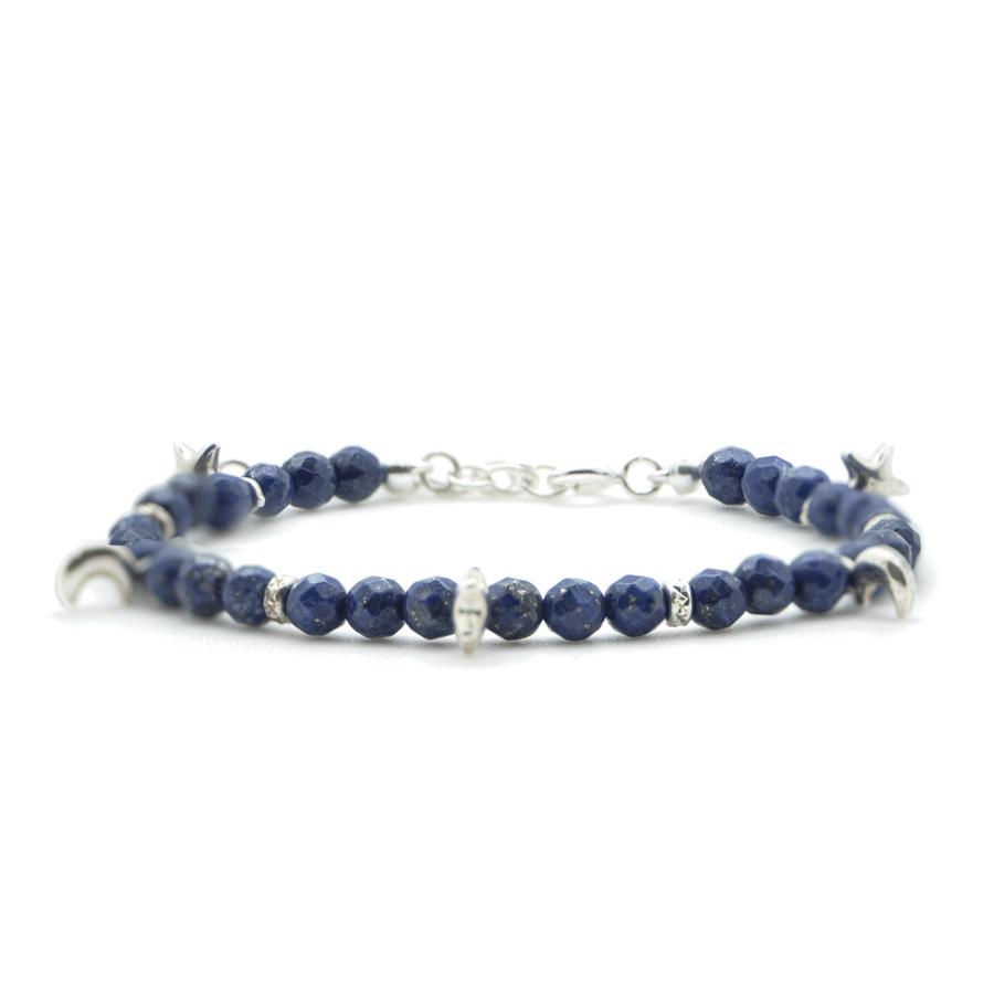 Bracelet argent lapis lazuli bleu aglaiaco