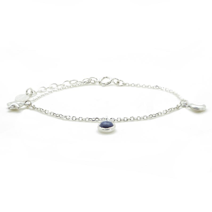 Bracelet lune etoile pierre lapis lazuli aglaiaco
