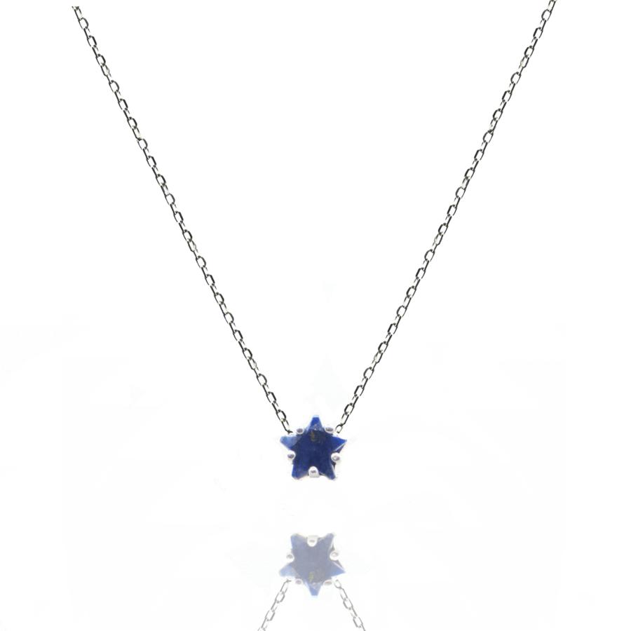 Collier argent etoile lapis lazuli aglaiaco