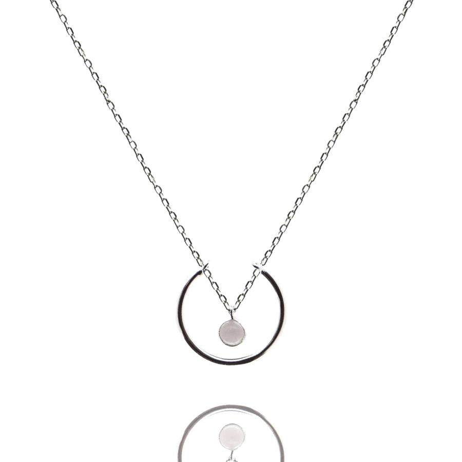Collier argent bijoux pierre quartz rose liberty anneau aglaiaco