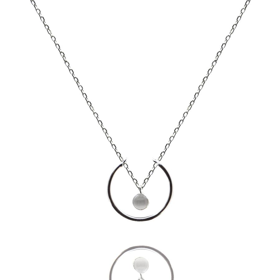Collier argent bijoux pierre quartz gris liberty anneau aglaiaco