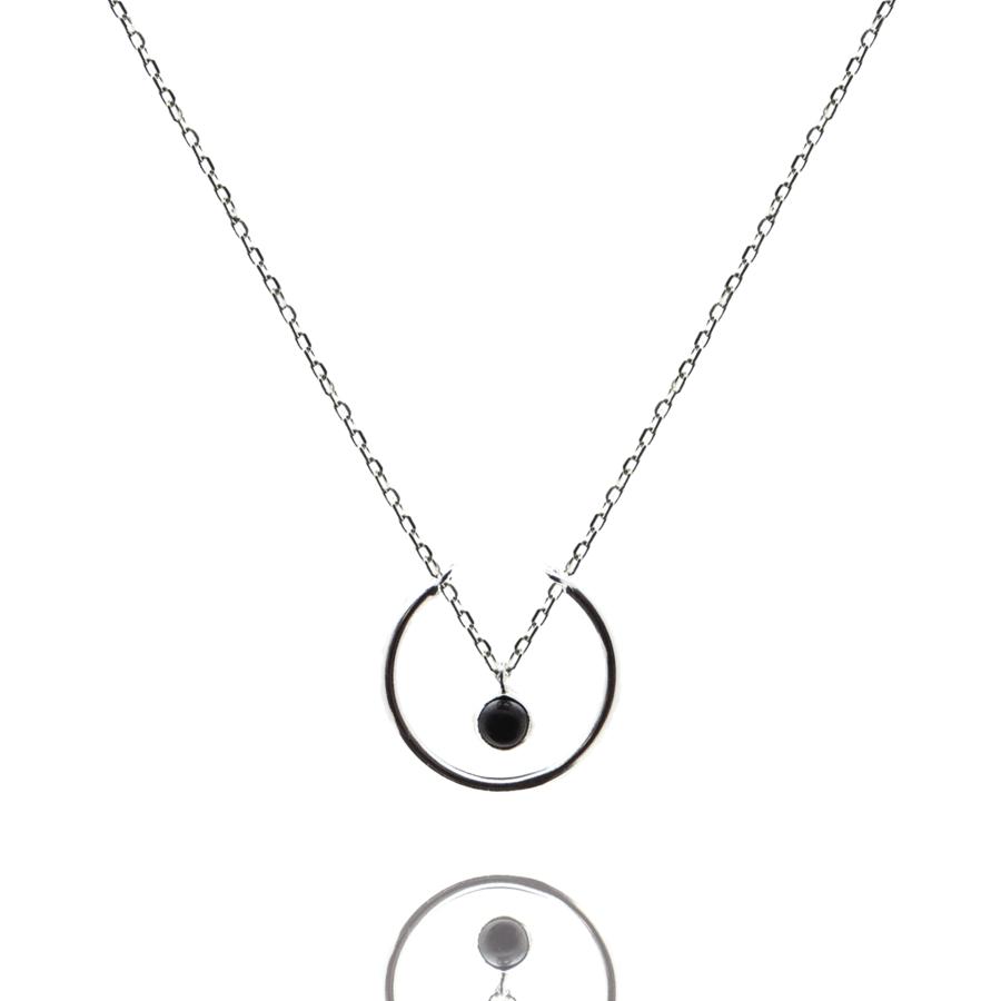 Collier argent bijoux pierre onyx liberty anneau aglaiaco