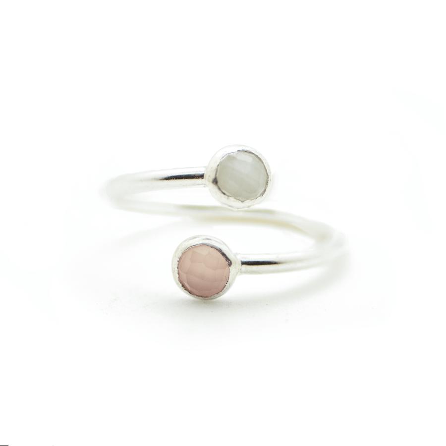 Bague argent rose calcedoine silverite ajustable atelier aglaiaco