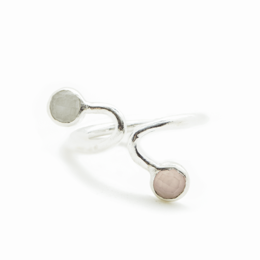 Bague argent rose calcedoine silverite blanc ajustable atelier aglaiaco %282%29