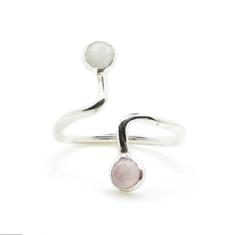 Bague argent rose calcedoine silverite blanc ajustable atelier aglaiaco %283%29