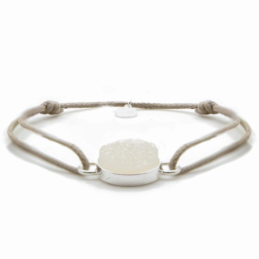Bracelet cordon argent drusy pierre aglaiaco