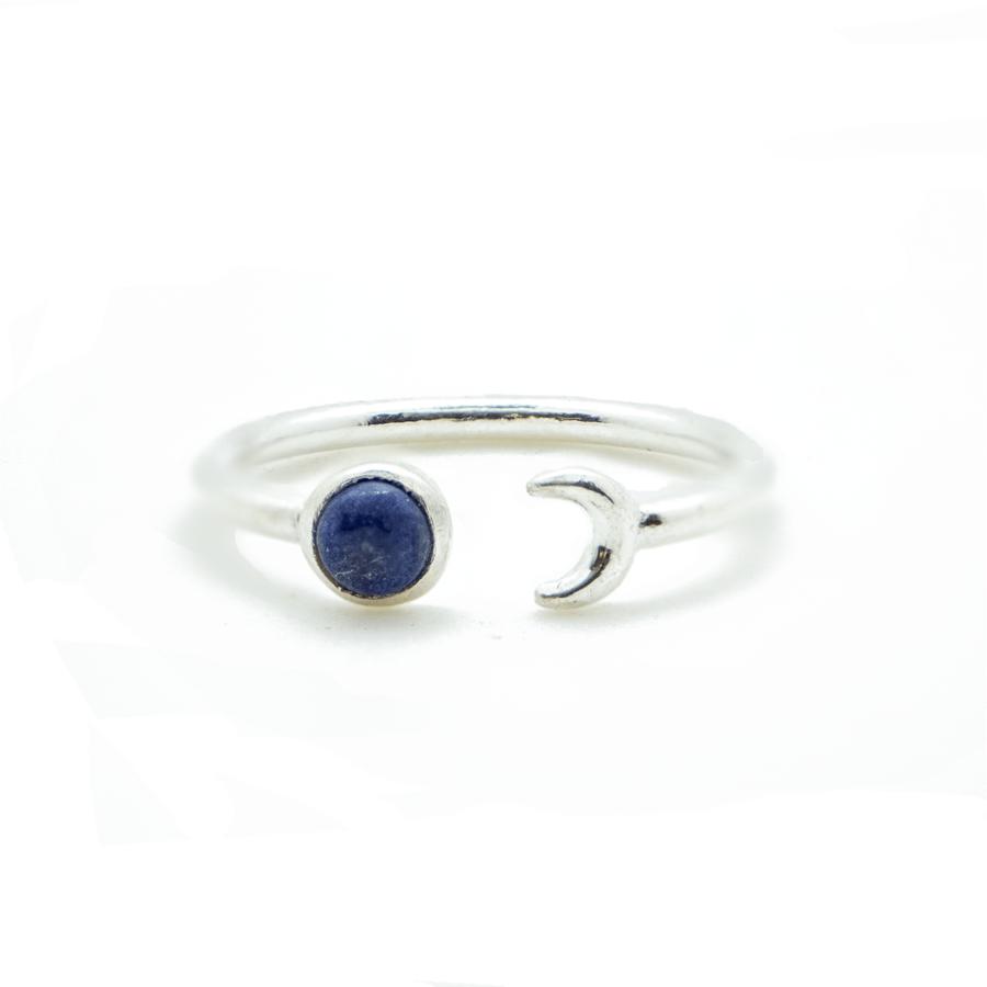 Bague argent lune lapis lazuli bleu aglaiaco