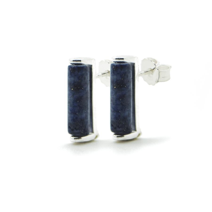Boucles oreilles puce argent lapis lazuli brooklyn aglaiaco