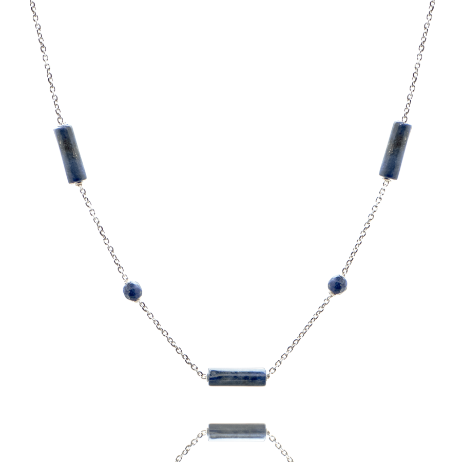 Collier argent lapis lazuli pierre tube pierre brooklyn aglaiaco
