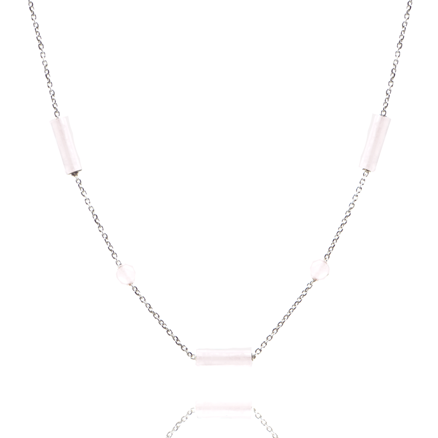 Collier argent quartz rose pierre tube perle brooklyn aglaiaco