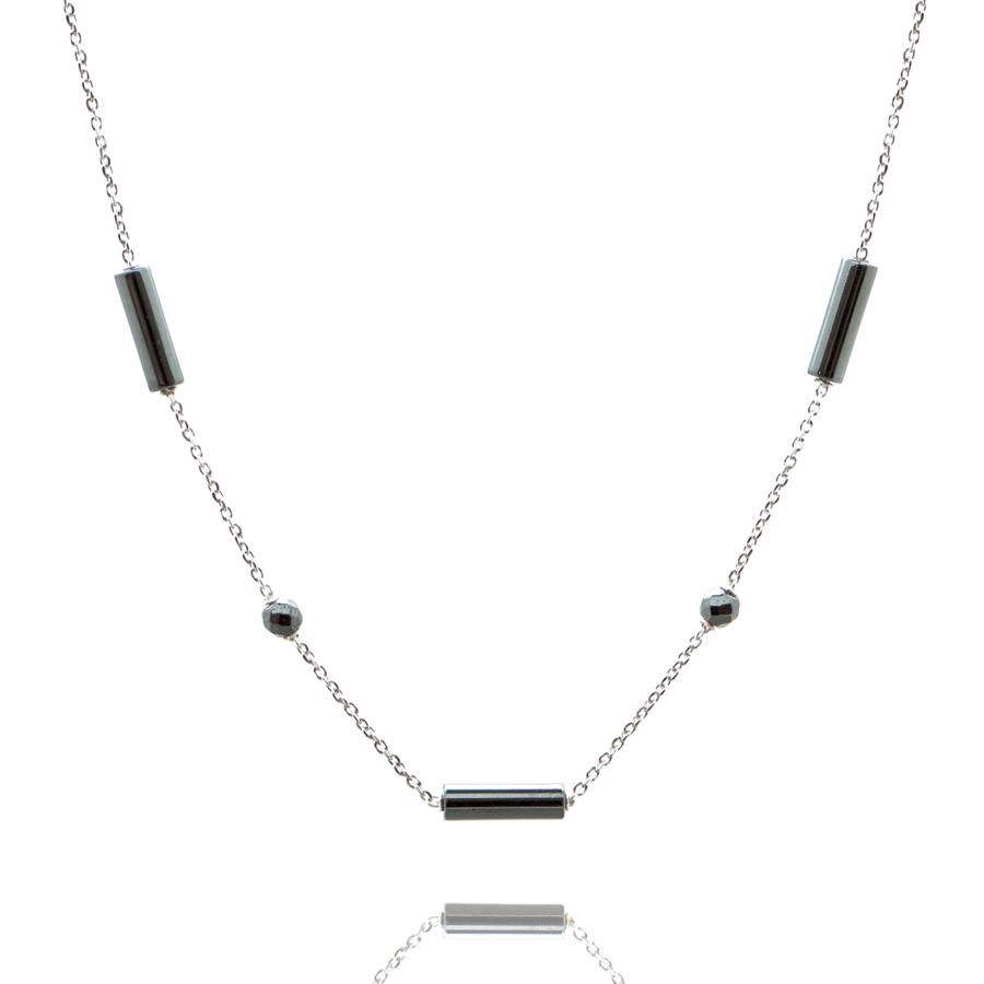 Collier argent hematite pierre tube perle brooklyn aglaiaco