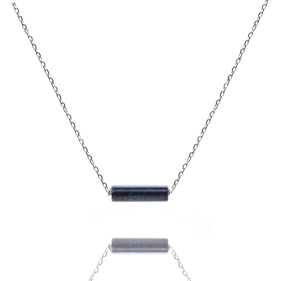 Collier argent massif tube lapis lazuli aglaiaco