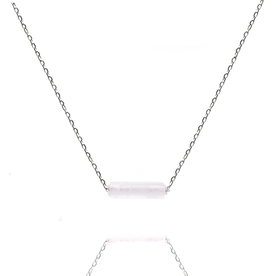 Collier argent massif tube quartz rose aglaiaco