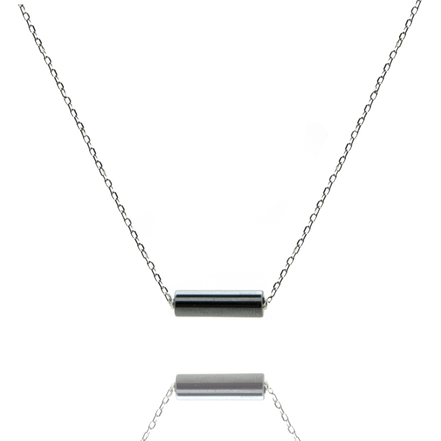 Collier argent massif tube hematite aglaiaco