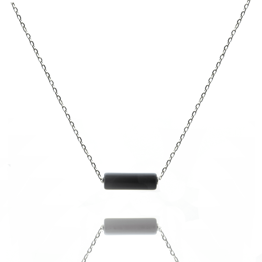 Collier argent massif tube onyx mat aglaiaco