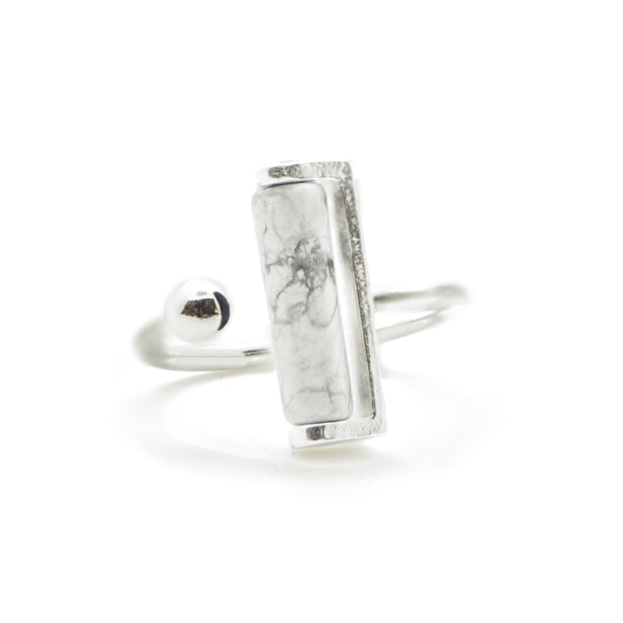 Bague argent howlite pierre brooklyn aglaiaco