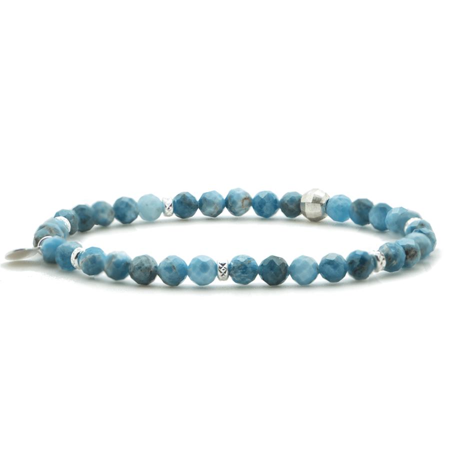 Bracelet pierres apatite argent bleu atelier aglaiaco