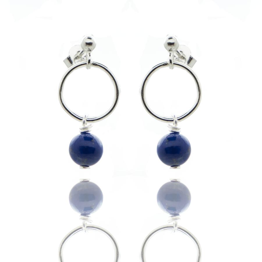Boucles oreilles argent anneau lapis lazuli elegance aglaiaco