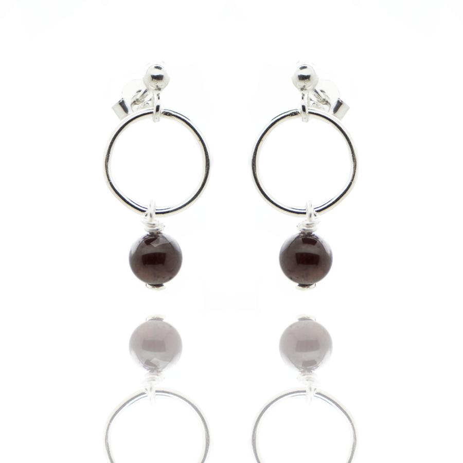 Boucles oreilles argent anneau pierre grenat elegance aglaiaco