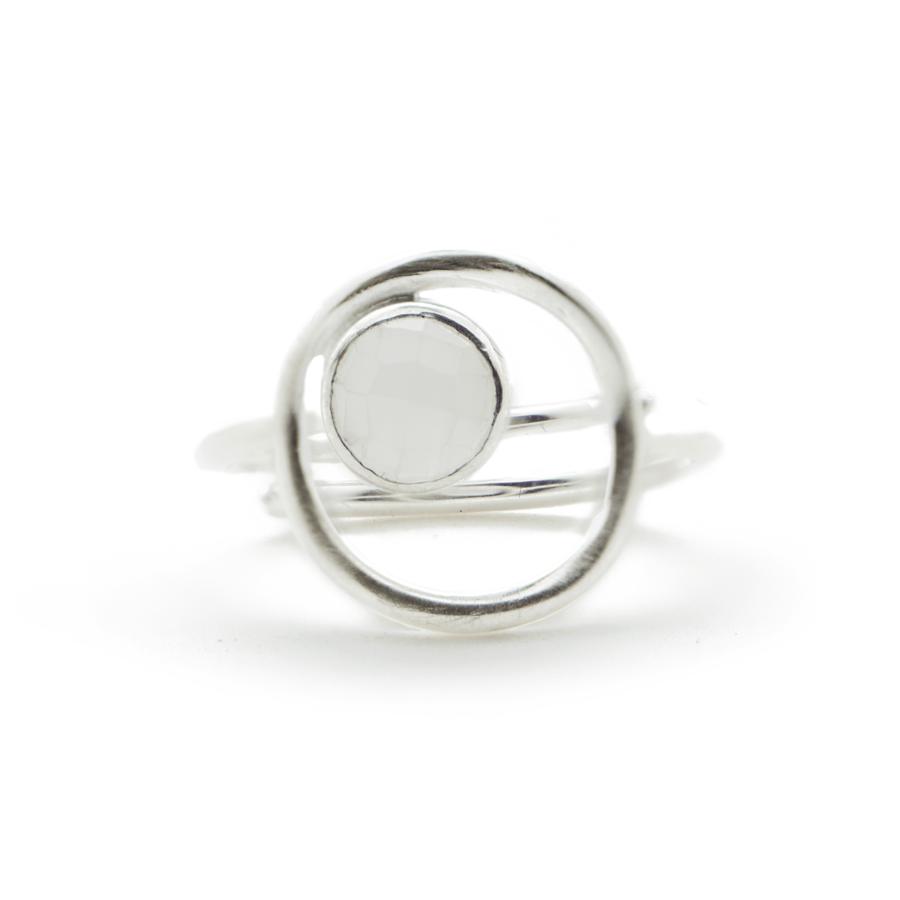 Bague argent ajustable anneau pierre silverite aglaiaco