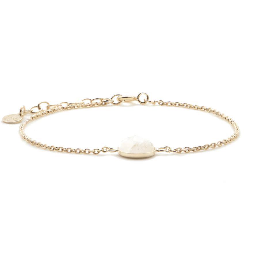 Bracelet plaque or pierre lune 1 pierre mademoiselle aglaiaco
