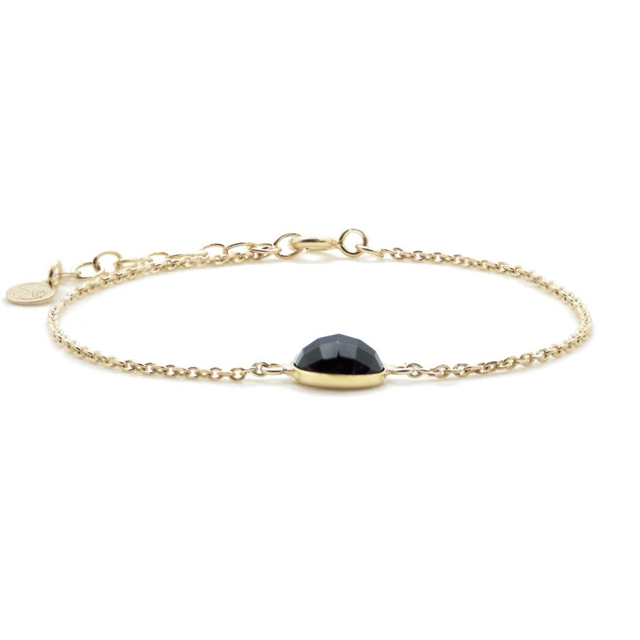 Bracelet plaque or onyx pierre mademoiselle aglaiaco