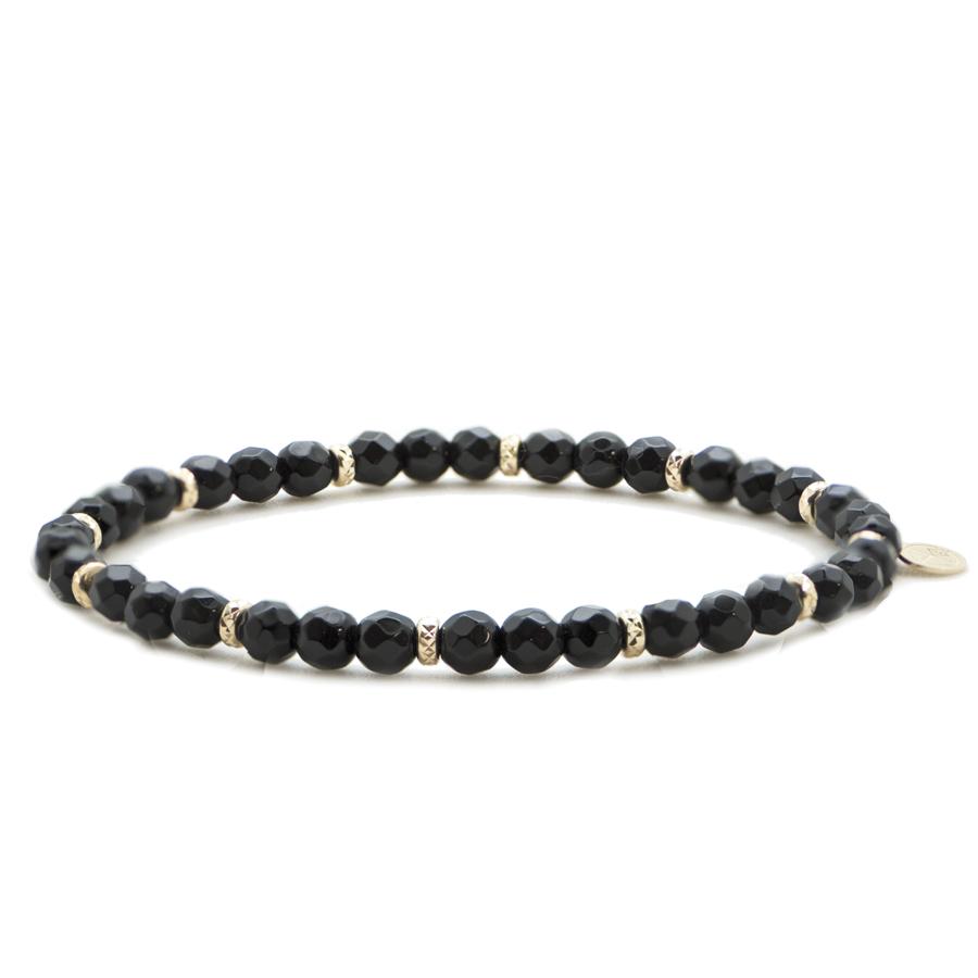 Bracelet plaque or elastique onyx atelier aglaiaco