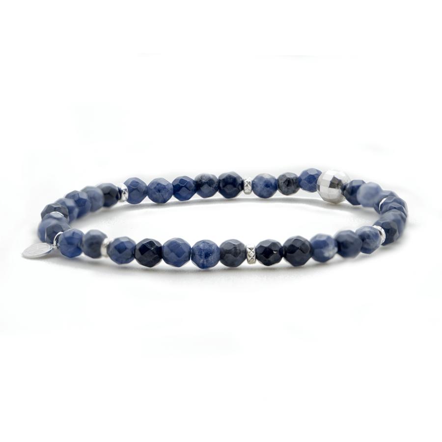 Bracelet elastique argent pierres sodalite aglaiaco