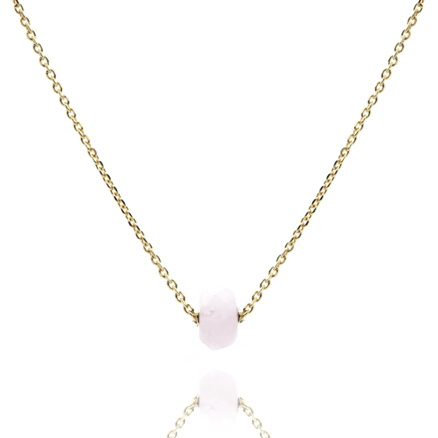 Collier plaque or pierre morganite