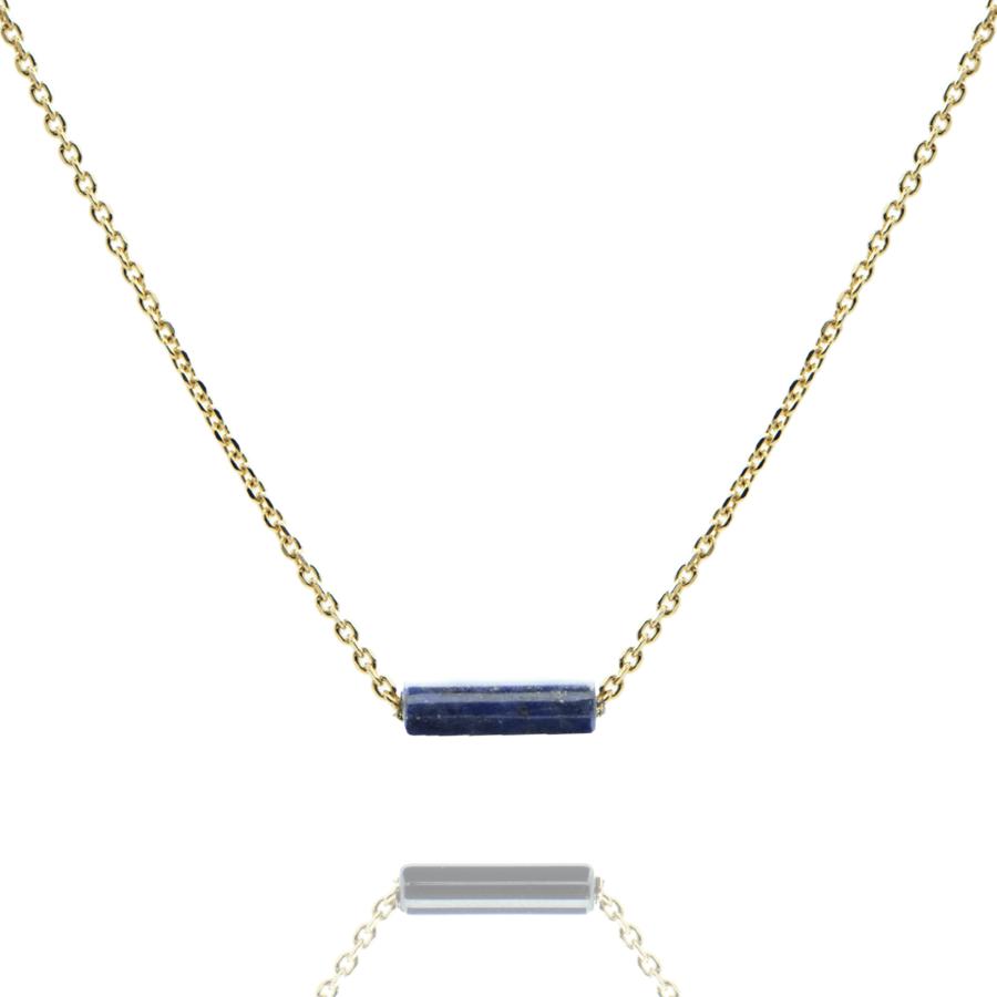 Collier plaque or lapis lazuli pierre tube aglaiaco
