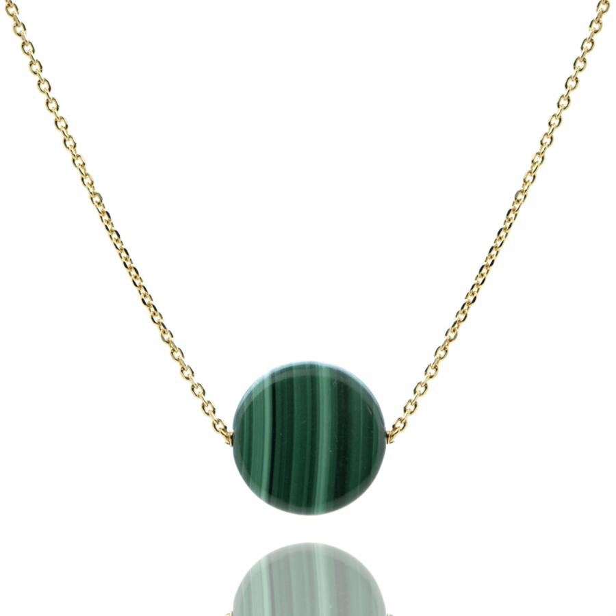 Collier plauque or malachite wild aglaiaco