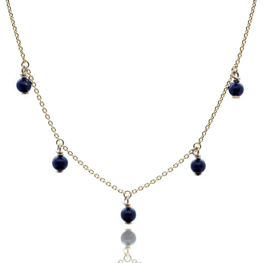 Collier plaque or multi pierres lapis lazuli aglaiaco