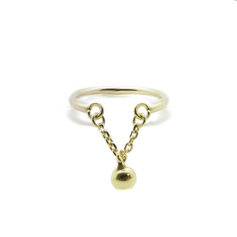 Bague bijoux plaque or boule caprice petillant