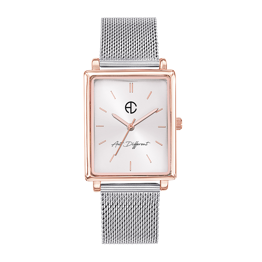 Aglaiaco montre carre milanais argent rose golden change act different