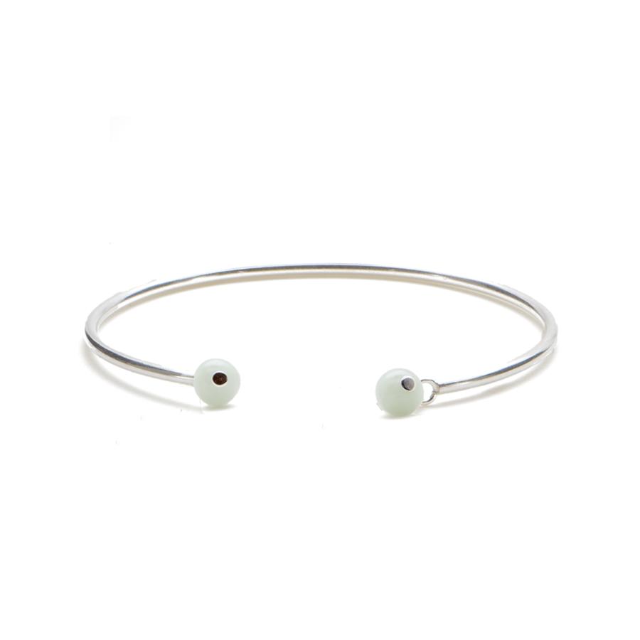 Jonc bracelet argent pierres jade aglaiaco