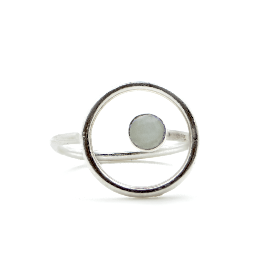 Bague argent fine pierre silverite blanche made in france aglaiaco