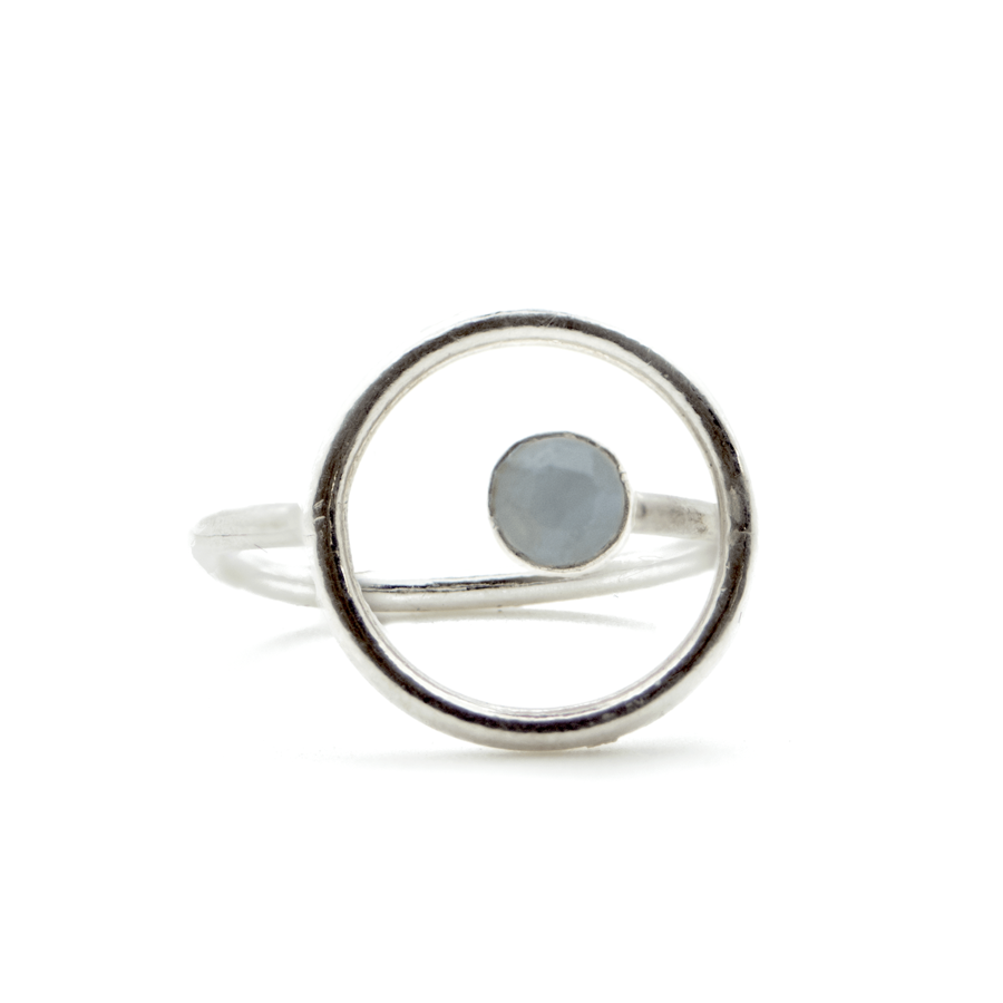 Bague argent fine pierre calcedoine bleue made in france aglaiaco