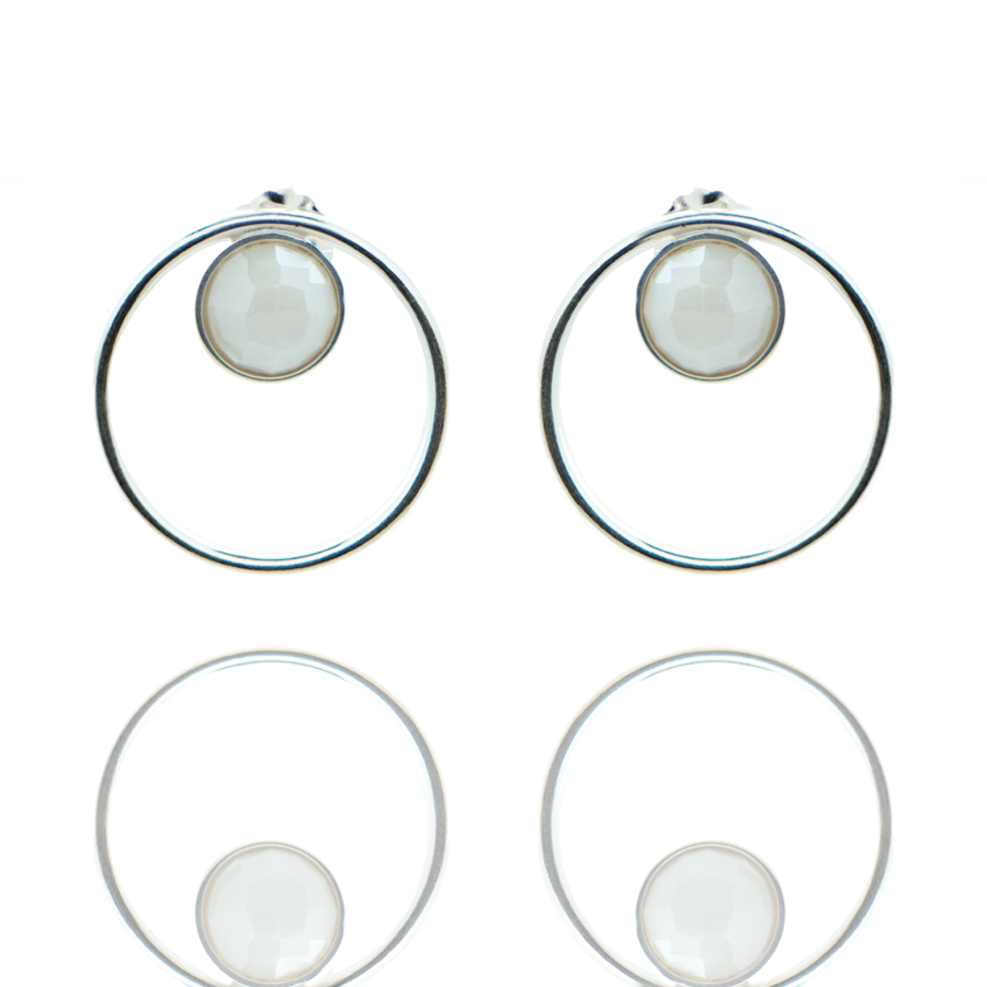 Boucles oreilles argent fine pierre silverite blanche made in france aglaiaco