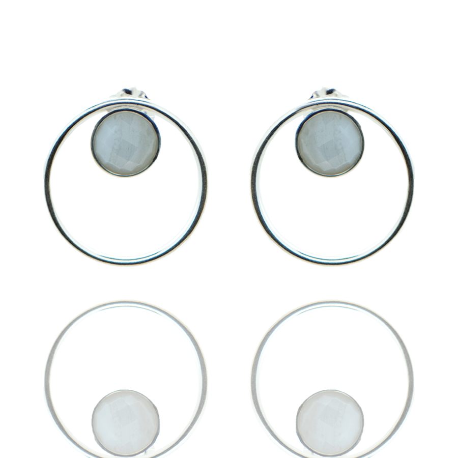 Boucles oreilles argent fine pierre calcedoine bleue made in france aglaiaco