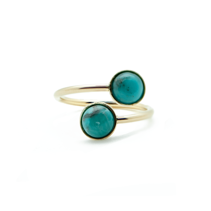 Bague fine plaque or turquoise ajustable wild aglaiaco