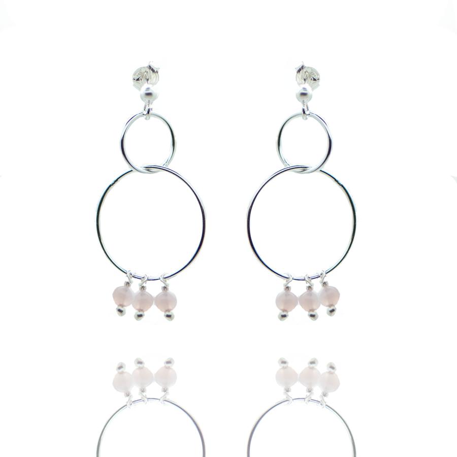 Boucles oreilles argent pendante pierre calcedoine rose made in france aglaiaco