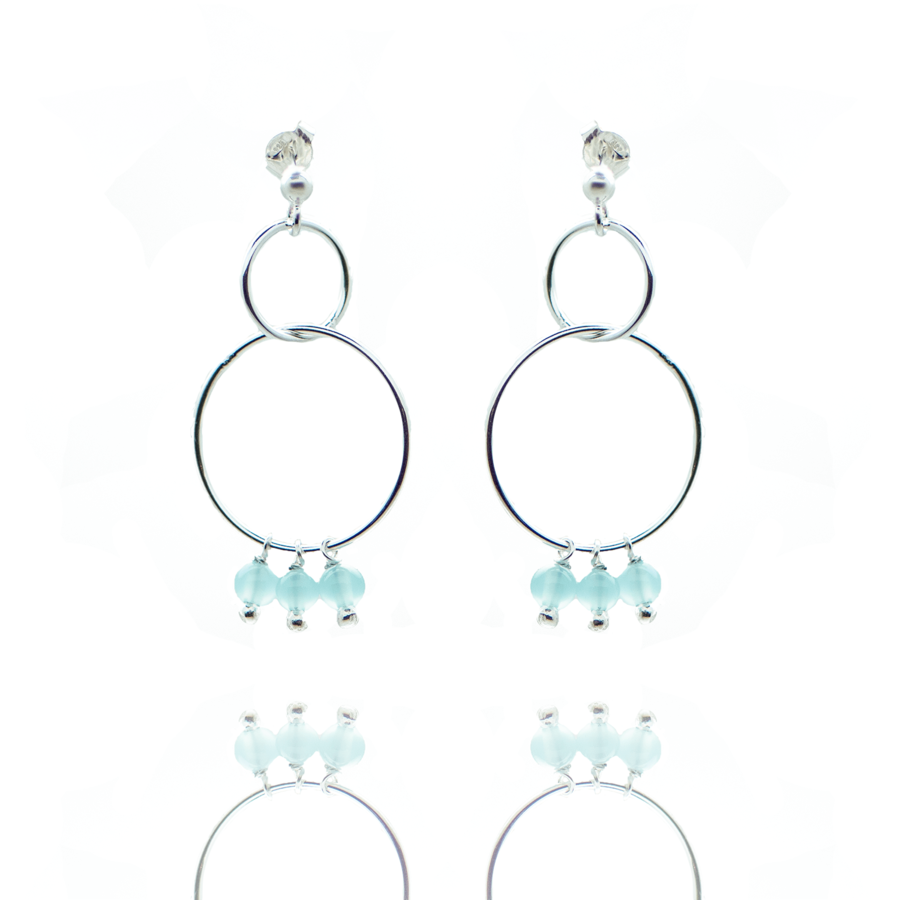 Boucles oreilles argent pendante pierre calcedoine bleue made in france aglaiaco