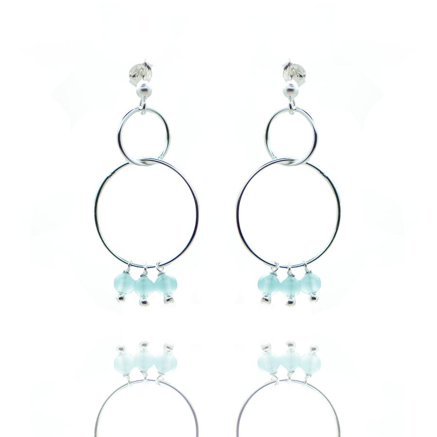 Boucles oreilles argent pendante pierre calcedoine bleue made in france aglaiaco