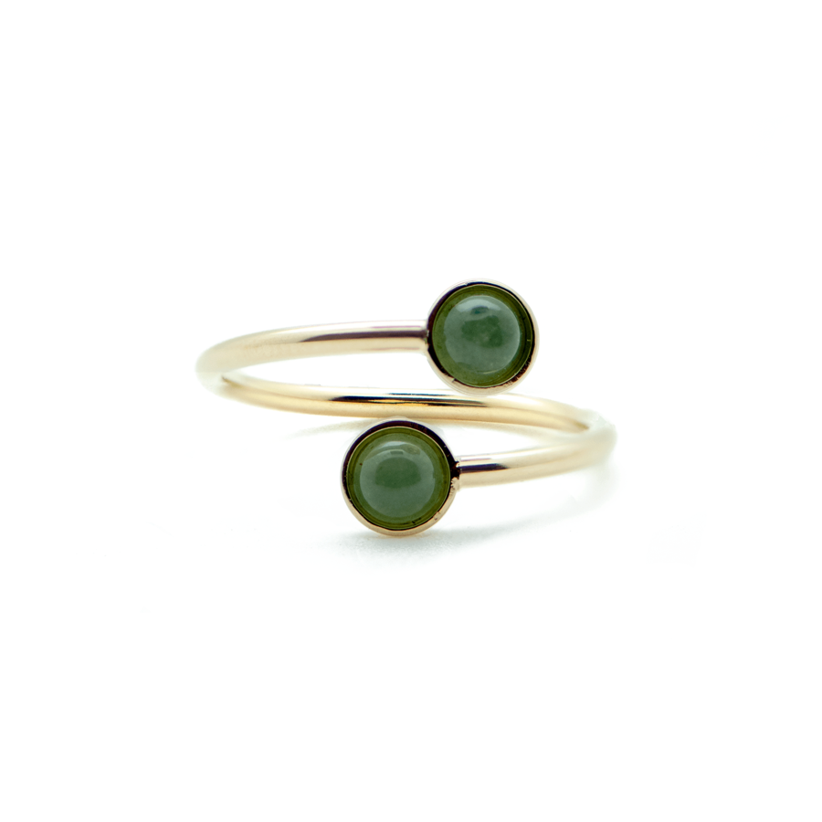 Bague fine plaque or dore aventurine verte ajustable aglaiaco