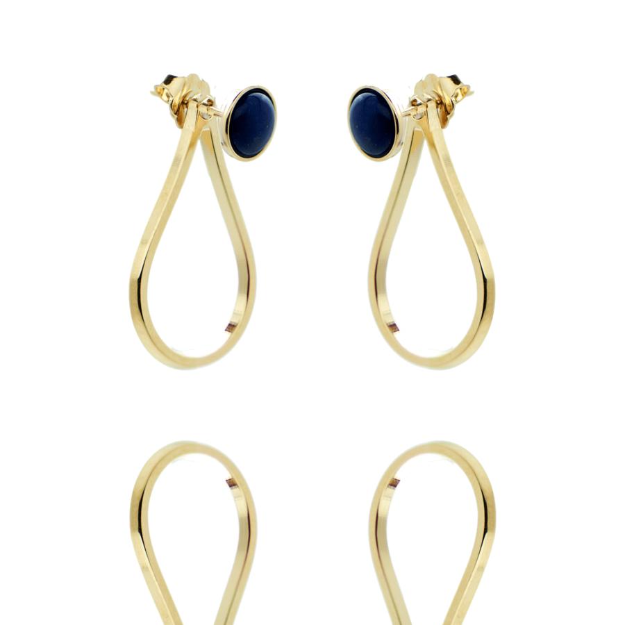 Boucles oreilles pendantes lapis lazuli plaque or aglaiaco
