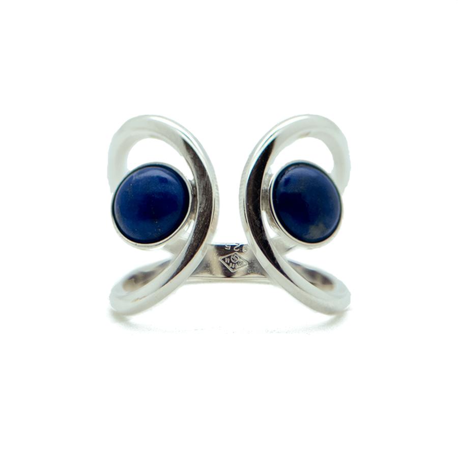 Bague argent lapis lazuli ajustable aglaiaco